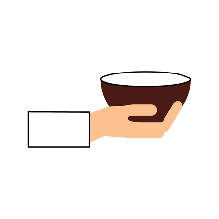 hand human with kitchen vessel isolated icon vector illustration design
