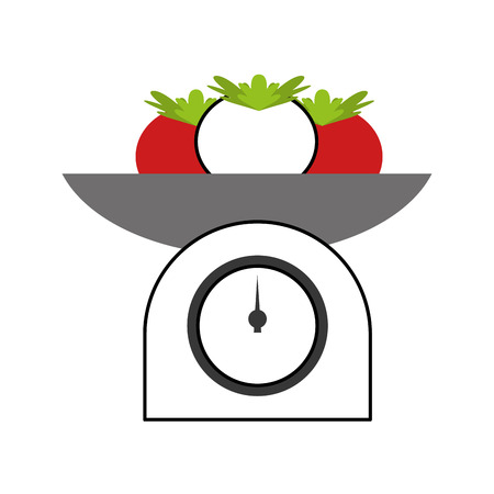 prepare: kitchen balance with tomatoes vector illustration design