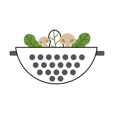 Metal kitchen strainer with vegetables vector illustration design