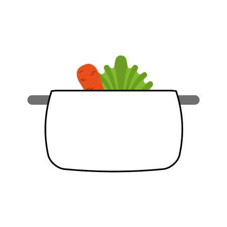 kitchen pot with vegetables isolated icon vector illustration design Vektorové ilustrace
