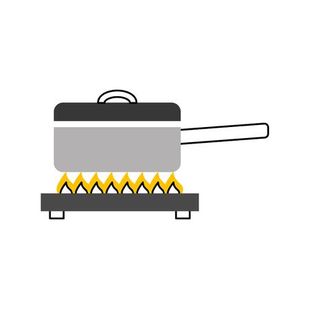 Olla de cocina con diseño de ilustración de vector de estufa Foto de archivo - 81104588