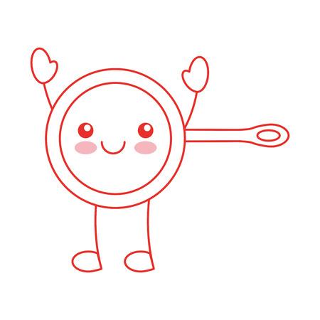 kitchen pan character vector illustration design