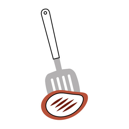 kitchen spatula tool with meat vector illustration design