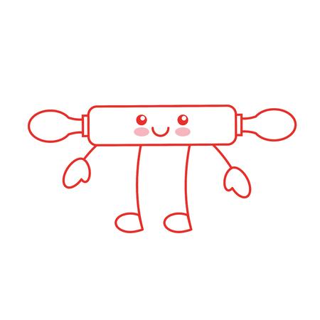 kitchen wooden roller character vector illustration design