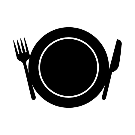 set kitchen cutlery with dish vector illustration design Illustration