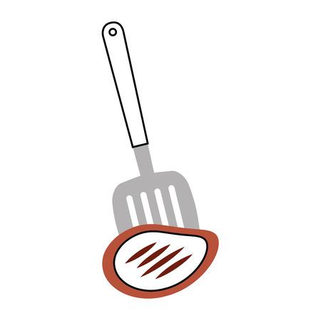고기 벡터 일러스트 디자인과 부엌 주걱 도구 일러스트