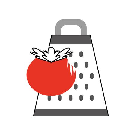 Kitchen grater with tomato vector illustration design Illustration