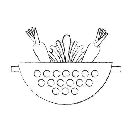 Metal kitchen strainer with vegetables vector illustration design Vetores