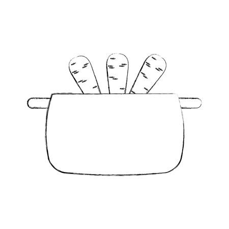 kitchen pot with carrots isolated icon vector illustration design Vektorové ilustrace