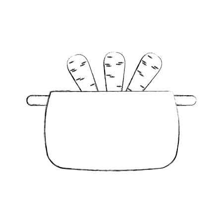 kitchen pot with carrots isolated icon vector illustration design