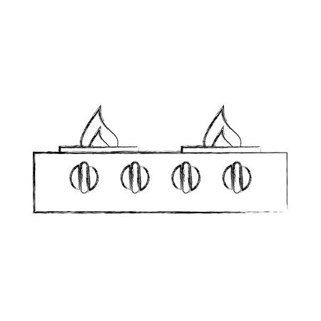 fornuis gas keuken pictogram schattig bloem geïsoleerde pictogram