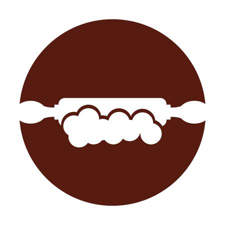 Diseño del ejemplo del vector del icono del rodillo de madera de la cocina Foto de archivo - 81083081