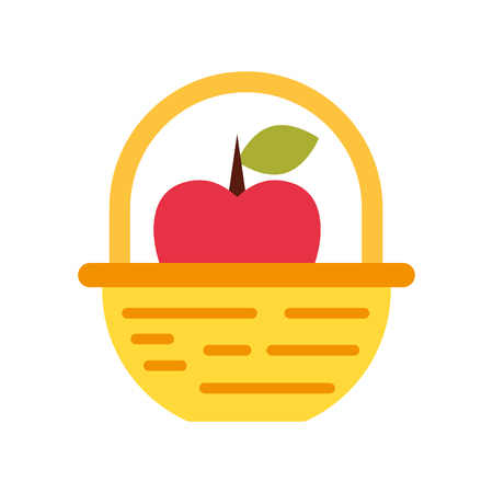straw basket with apples vector illustration design