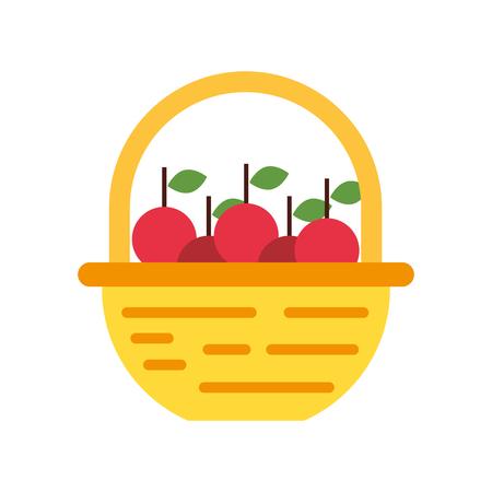 straw basket with apples vector illustration design