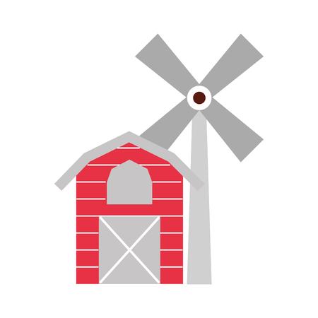 Granja estable edificio con molino de viento vector ilustración diseño Foto de archivo - 81083222