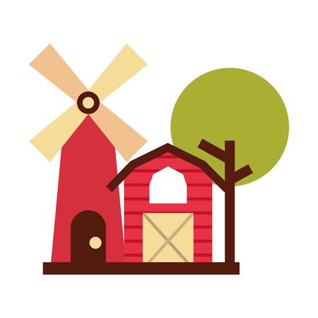 Granja, estable, edificio, con, molino de viento, vector, ilustración, diseño Foto de archivo - 81083233
