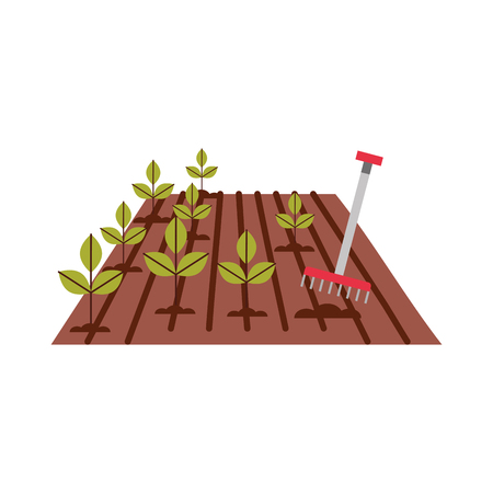 Cultivated plant with rake vector illustration design