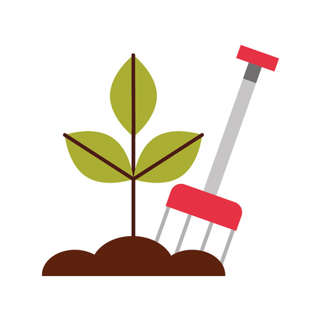 farm rake with ground vector illustration design