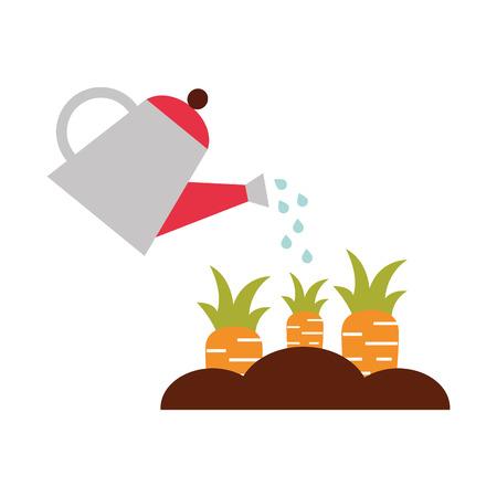Landwirtschaft Sprinkler mit Karotten-Anbau-Vektor-Illustration-design Standard-Bild - 81083312