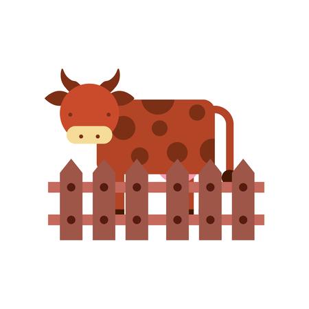 cow farm in fence vector illustration design Illustration