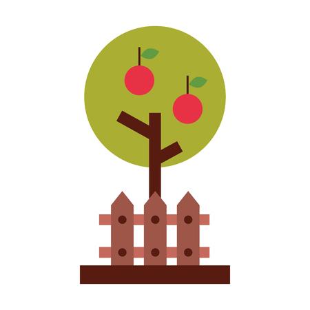 apple tree with fence vector illustration design Ilustração