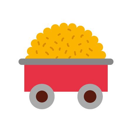 farm wagon with straw vector illustration design
