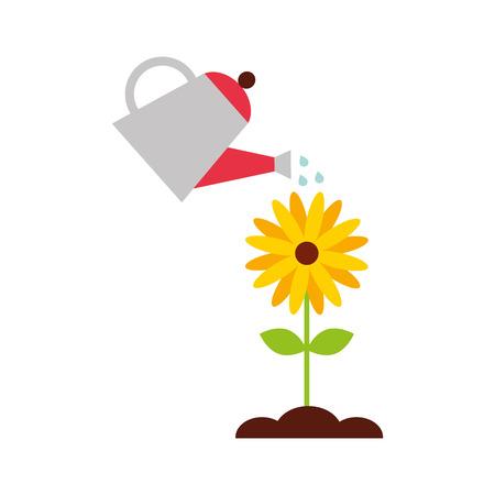 landbouw sprinkler met bloem vector illustratie ontwerp