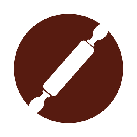 Diseño del ejemplo del vector del icono del rodillo de madera de la cocina Foto de archivo - 81083509