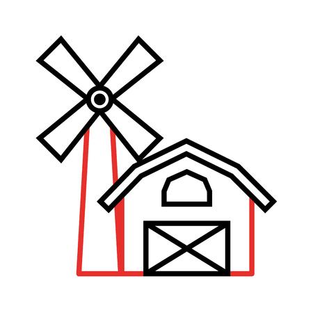 Granja, estable, edificio, con, molino de viento, vector, ilustración, diseño Foto de archivo - 81085308