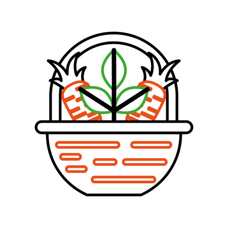straw basket with carrot vector illustration design