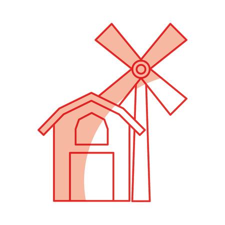 Granja, estable, edificio, con, molino de viento, vector, ilustración, diseño Foto de archivo - 81085227