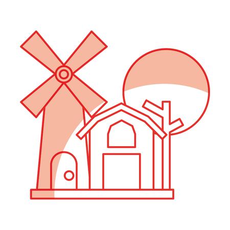 Granja, estable, edificio, con, molino de viento, vector, ilustración, diseño Foto de archivo - 81085234