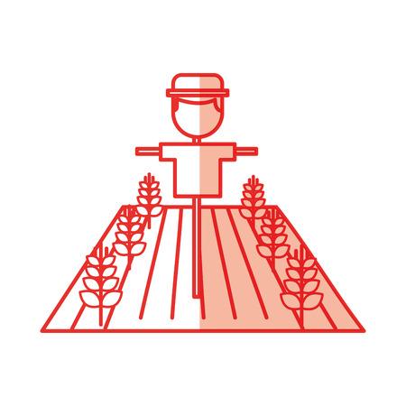 小麦収穫ベクトル イラスト デザインにしてファームかかし  イラスト・ベクター素材