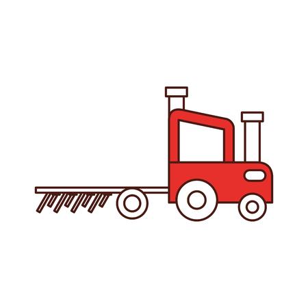 Granja de tractor con diseño de ilustración de vector de rastrillo Foto de archivo - 81084851