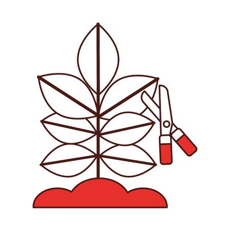 はさみベクトル イラスト デザインで耕された植物  イラスト・ベクター素材