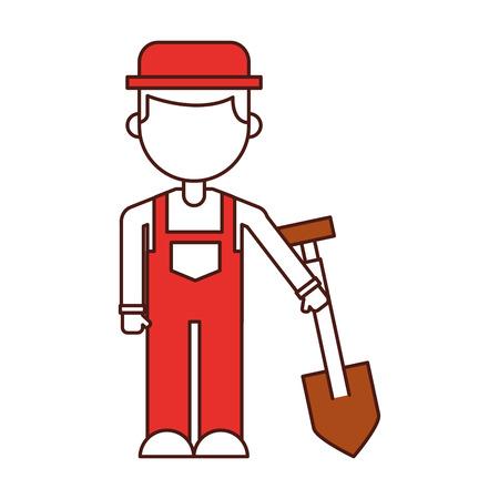 farmer character with shovel vector illustration design