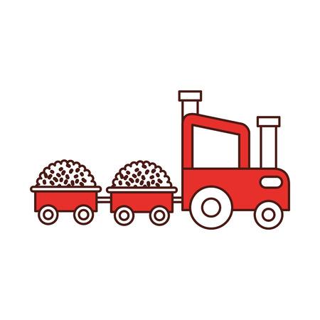 Trekker boerderij met stro wagens vector illustratie ontwerp