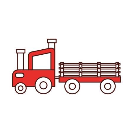 tractor farm with carriage vector illustration design