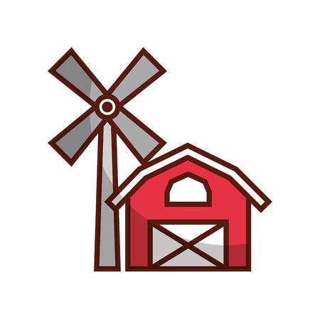 Granja, estable, edificio, con, molino de viento, vector, ilustración, diseño Foto de archivo - 81084621