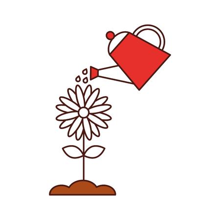 花ベクトル イラスト デザインとスプリンクラーを農業