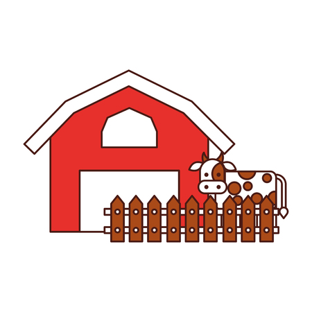 farm stable building with cow vector illustration design