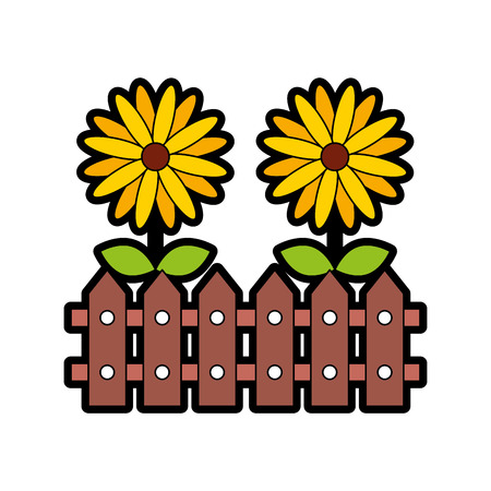fence wooden with flowers vector illustration design