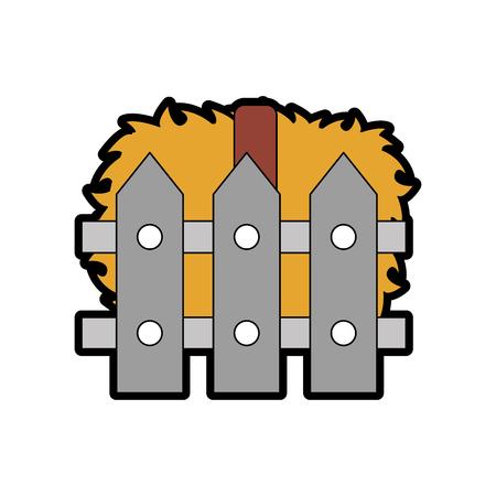 houten omheining met vector de illustratieontwerp van stroblokken Stock Illustratie