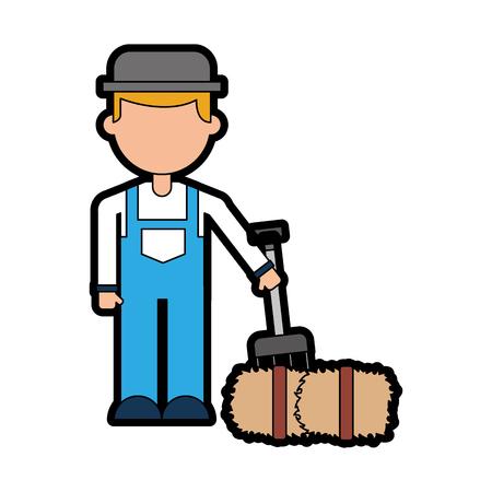 farmer character with straw block vector illustration design Illustration