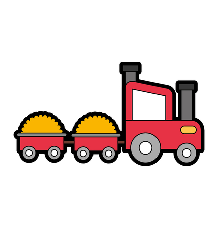 tractor farm with straw wagons vector illustration design