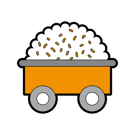 farm wagon with straw vector illustration design