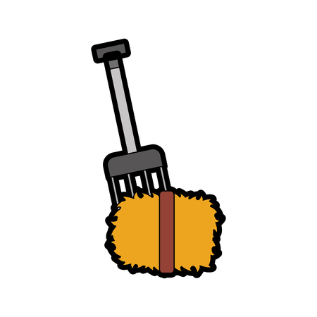 farm rake with straw blocks vector illustration design