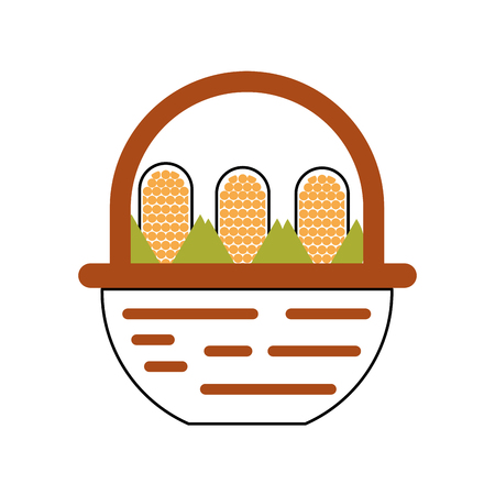 straw basket with corn vector illustration design