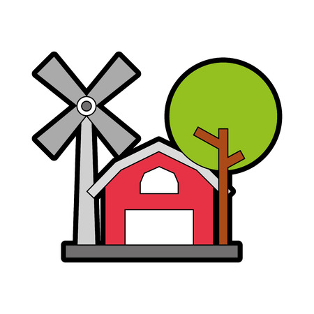 farm stable building with windmill vector illustration design