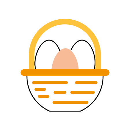 straw basket with eggs vector illustration design